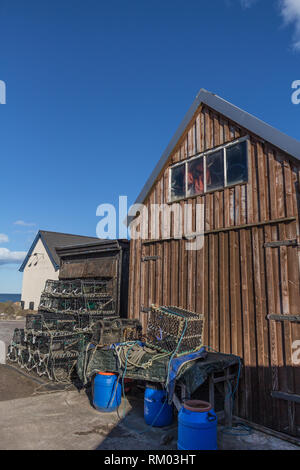 Fishing sheds and gear at Stonehaven harbour - Stock Image