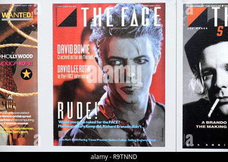 David Bowie at The FACE COVERS ARCHIVE magazine covers exhibition in Lewis Cubitt Square Coal Drops Yard area Kings Cross London NC1 UK  KATHY DEWITT - Stock Image