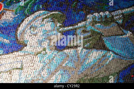 Backdrop consisting of crowd 'pixels' at the Mass Games, Pyongyang, North Korea - Stock Image