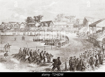 The annual spring horse-race meeting at Yokahama, Japan. Race of the Japanese officers, the start. Western-style horse racing began in Japan during the 1860s at Yokohama.  Following the completion of Negishi Racecourse 1866, horse racing took place there for 76 years.  From The Illustrated London News, published 1865. - Stock Image