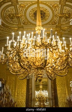 Golden exhibit displayed inside Catherine Palace (Tsarskoe Selo), Pushkin, St. Petersburg, Russia - Stock Image
