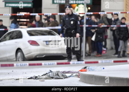 Police confirm that man, born in 1964, poured combustible on him and set himself on fire at Wenceslas Square in Prague, Czech Republic, on January 18, 2019. His face and hands are burnt. (CTK Photo/Vit Simanek) - Stock Image