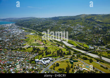 Avalon Park, Boulcott Golf Course, and Hutt River, Lower Hutt, Wellington, North Island, New Zealand - aerial - Stock Image