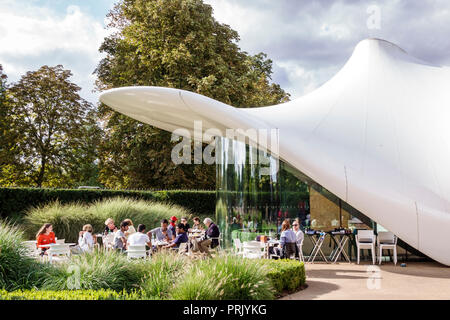London England United Kingdom Great Britain Chucs Serpentine Sackler Gallery The Magazine restaurant alfresco dining cafe membrane roof architecture Z - Stock Image