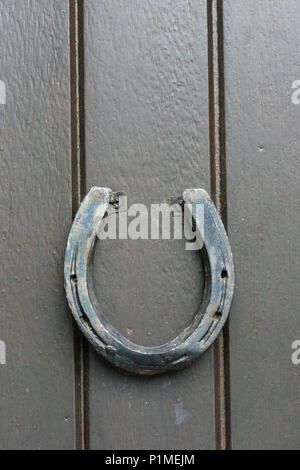 Old horseshoe on door - Stock Image