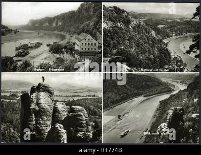 GERMANY - CIRCA 1969: A postcard printed in Germany, depicts the sights and natural views of the Saxon Switzerland, - Stock Image