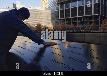 Mourner at Ground Zero, New York City, USA - Stock Image