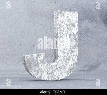 Concrete Capital Letter - J isolated on white background. 3D render Illustration - Stock Image