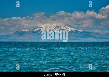 Snowy Süphan Mountain and Lake Van, Turkey - Stock Image