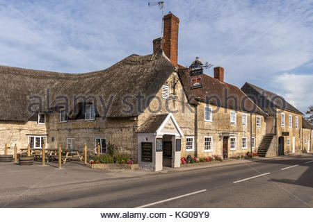 The Crown Inn on the edge of Marnhull Village in North Dorset - Stock Image