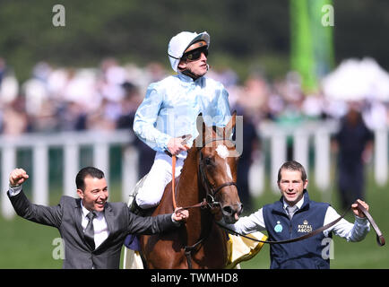 Ascot Racecourse, Windsor, UK. 21st June, 2019. Royal Ascot Horse racing; Race 4; Coronation Stakes; Watch Me Ridden By Pierre Charles Boudot Trained By F H Graffard wins The Coronation Stakes and Pierre Charles Boudot celebrates Credit: Action Plus Sports/Alamy Live News - Stock Image