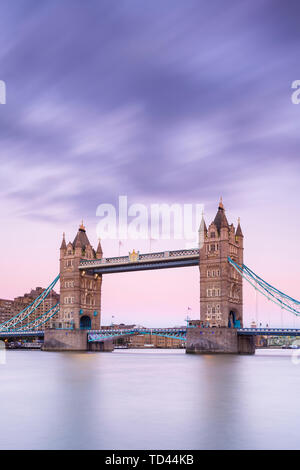 Tower Bridge from the south bank of the River Thames, London, England, United Kingdom, Europe - Stock Image