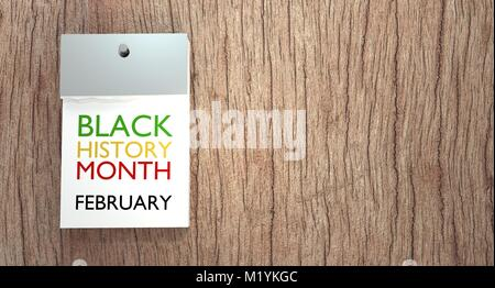Calendar on Black History Month page - Stock Image