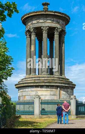 The Dugald Stewart Monument, Calton Hill, designed by William Henry Playfair and completed in September 1831.  Calton Hill, Edinburgh, Scotland, UK - Stock Image