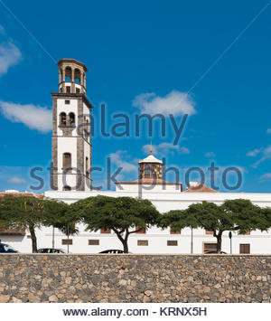 Iglesia de la Concepción is the main Roman Catholic church of Santa Cruz de Tenerife here viewed over the Barranco - Stock Image