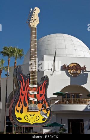 LA California Los Angeles CA Universal City Walk Citywalk Hard Rock Cafe Hollywood restaurant holiday holidays travel - Stock Image