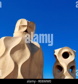 Barcelona, Spain, October 2018. On the roof of Antoni Gaudi's Casa Mila also known as La Pedrera. - Stock Image