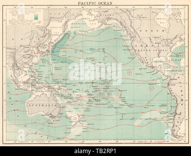 Map of the Pacific Ocean, 1870s. Color lithograph - Stock Image