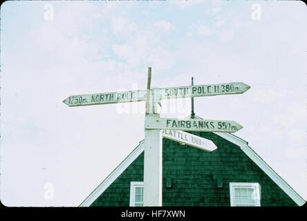 Sign post indicating: North Pole - 1,250 miles, South Pole: 11-380 miles; Point Barrow, Alaska. - Stock Image