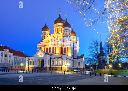 Alexander Nevsky Cathedral at night in Tallinn - Stock Image
