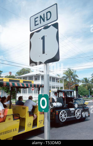 Key West Florida Keys southernmost end US sign mileassing Conch Tour Train minute tour - Stock Image