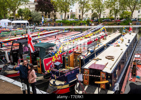 Inland Waterways Canalway Cavalcade Festival 2019, Little Venice, Paddington, London, UK. Over 100 narrowboats took part, attracting large crowds. - Stock Image