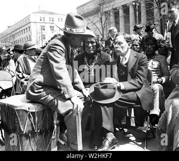 Gathering with Native Americans, Washington, D.C. / Gathering with American Indians in 1930s ca. 1936 - Stock Image