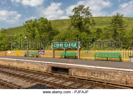 Corfe Castle Railway Station in Dorset - Stock Image