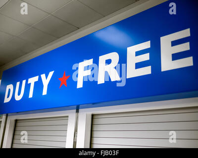 Duty Free sign at an airport store - Stock Image