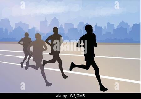 group of marathon runners silhouettes on abstract city background - vector - Stock Image