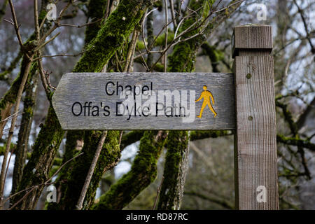 Finger sign for the Offa's Dyke Path, near Capel-y-Ffin, Monmouthshire, Wales - Stock Image