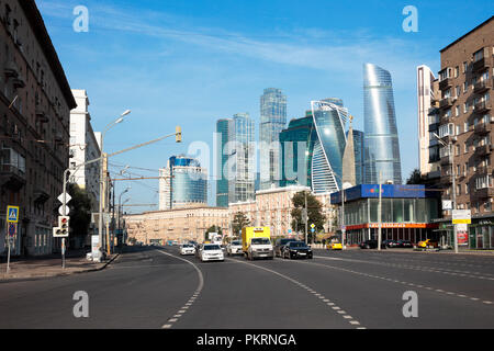 View of Dorogomilovskaya street and modern high-rise buildings of Moscow International Business Centre (MIBC). Moscow, Russia. - Stock Image