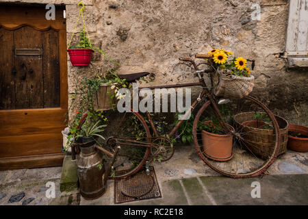 Old bicycle with flowers in the medieval town of Entreveux, France - Stock Image