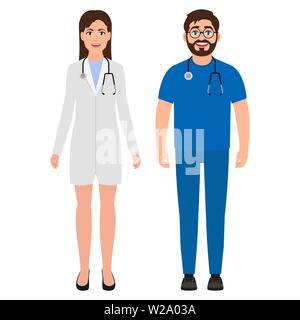 Male doctor with a stethoscope around his neck, female doctor or nurse, cartoon character vector illustration - Stock Image