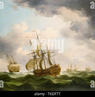 East Indiamen in a Gale, painting by Charles Brooking, late 18th Century - Stock Image
