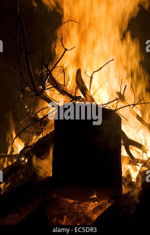 block of wood in a campfire - Stock Image