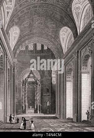The Church of Notre-Dame de Paris, antique steel engraved print, 1831 - Stock Image