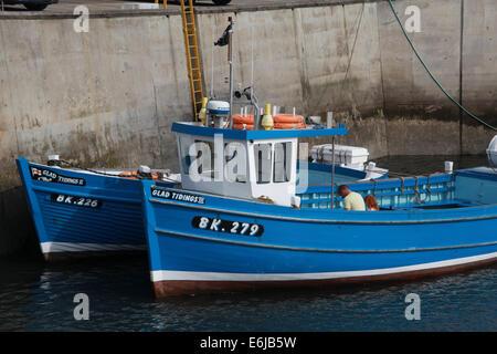 BK279 blue fishing boat at Seahouses harbour , Northumberland, NE England, Great Britain, UK - Stock Image