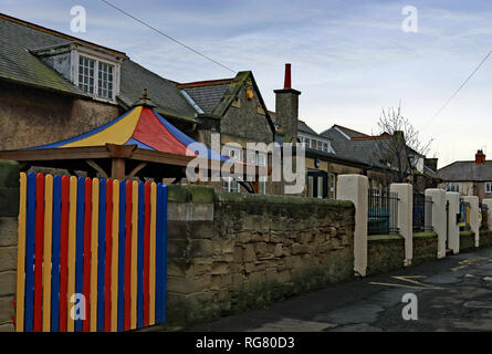 Amble first school Edwin Street Amble, a early years school.  Amble is a small town on the north east coast of Northumberland. Cw 6563. - Stock Image