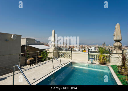 A scenic of the City of Barcelona from the rooftop of the Avenida Hotel, Barcelona, Spain - Stock Image