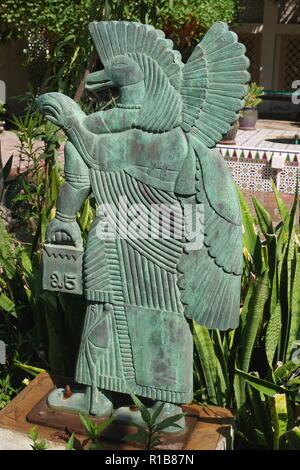 A sculpture by Rashid Al Oraifi in the courtyard of the Rashid Al Oraifi house museum, Muharraq, Kingdom of Bahrain - Stock Image