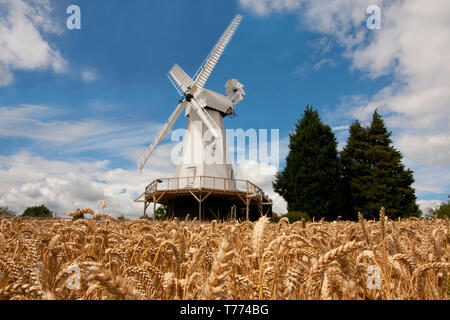The restored Woodchurch smock windmill, Kent, England - Stock Image