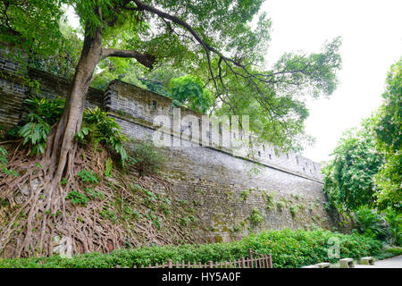 City wall of ancient Guangzhou. Built during the Ming dynasty in the 1300s, this is one of the few remaining truly - Stock Image