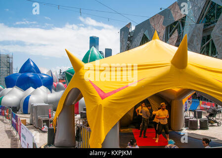Arboria is a walk-in inflatable installation, set up in Federation Square, Melbourne, until 28 Jan 2018 - Stock Image