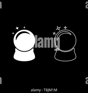 Crystal ball Glass sphere Spirutual concept Magic crystal ball icon outline set white color vector illustration flat style simple image - Stock Image