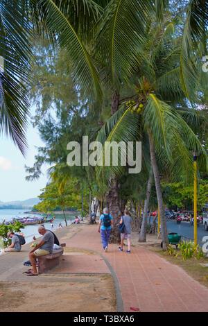Seaside promenade, Ao Nang, Krabi province, Thailand - Stock Image