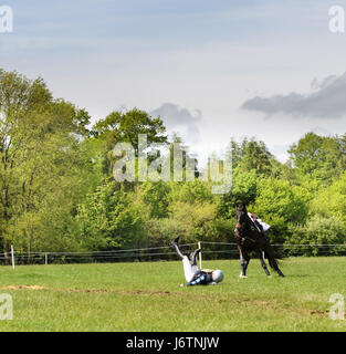 Rockingham Castle, Corby, UK. 21st May, 2017. A rider and her horse part company after hitting a triple log obstacle - Stock Image