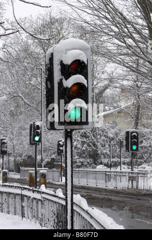 Snow covered green light - Stock Image