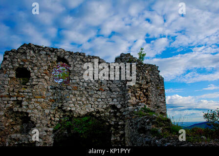 Ruins of the medieval town of Castiglione, built on a hill near Palombara Sabina, Italy - Stock Image