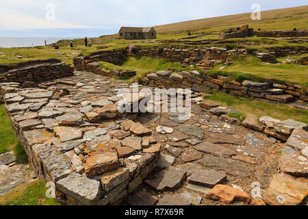 Remains of Norse sauna in a settlement excavated on the Brough of Birsay, Orkney Mainland, Scotland, UK, Great Britain - Stock Image